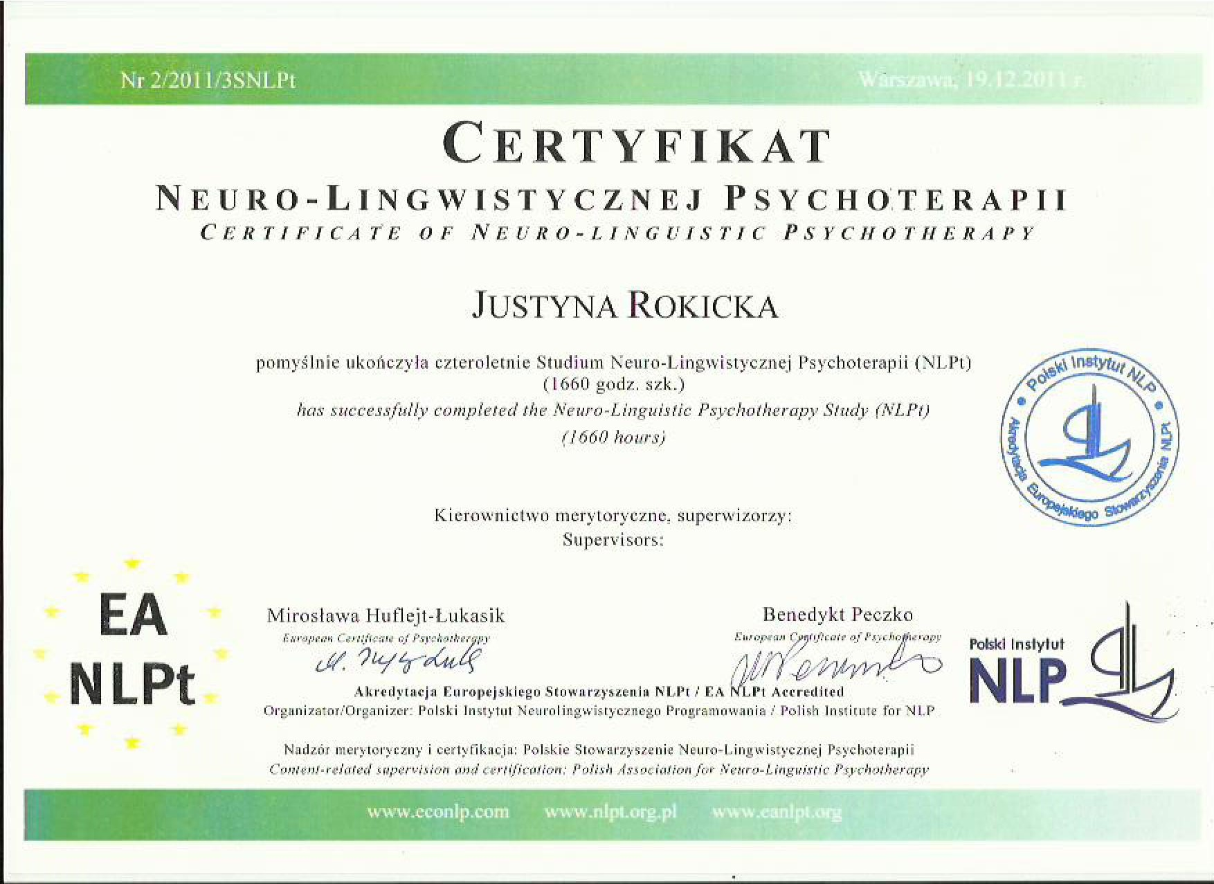 Certificate of Polish Federation of Psychotherapy